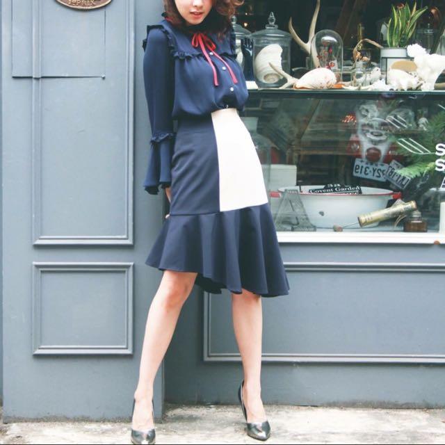 全新 Marjorie 瑪喬麗 斜裁荷葉邊魚尾半身裙 魚尾裙