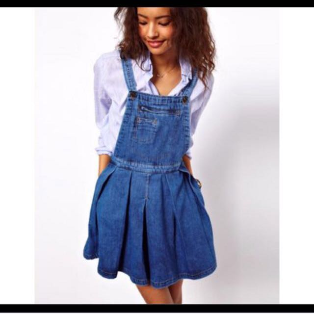 7e4e0ffedbe ASOS Denim Pinafore Dress With Pleated Skirt In Vintage Wash ...