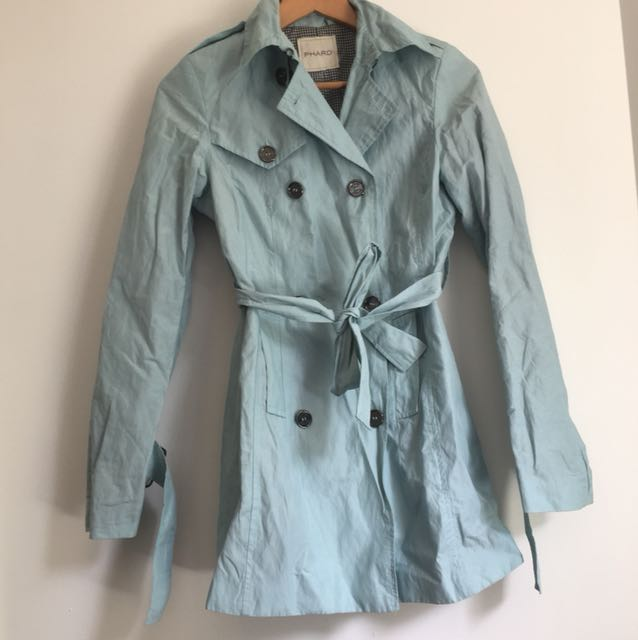Baby blue trench coat