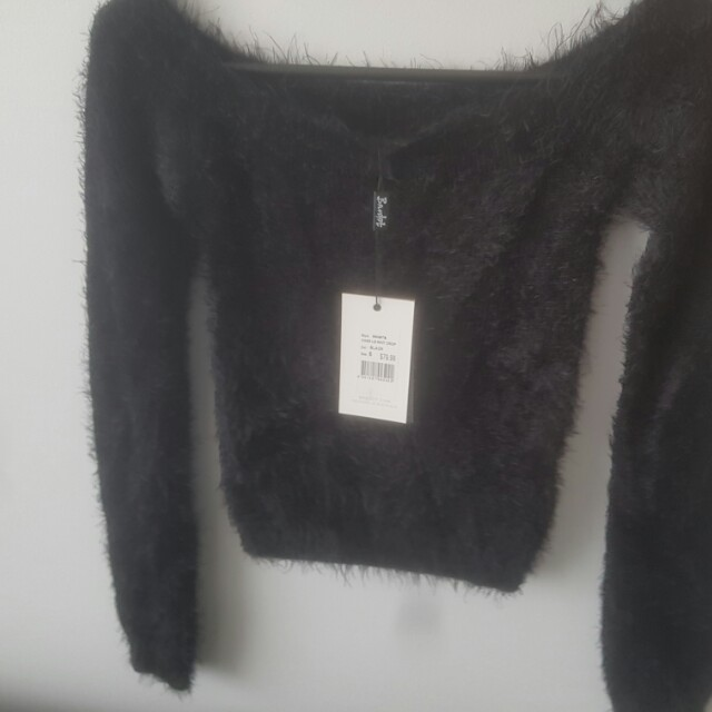 Bardot black knit crop
