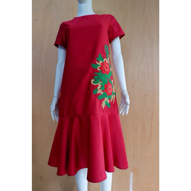 [BARU] Red Midi Dress 02