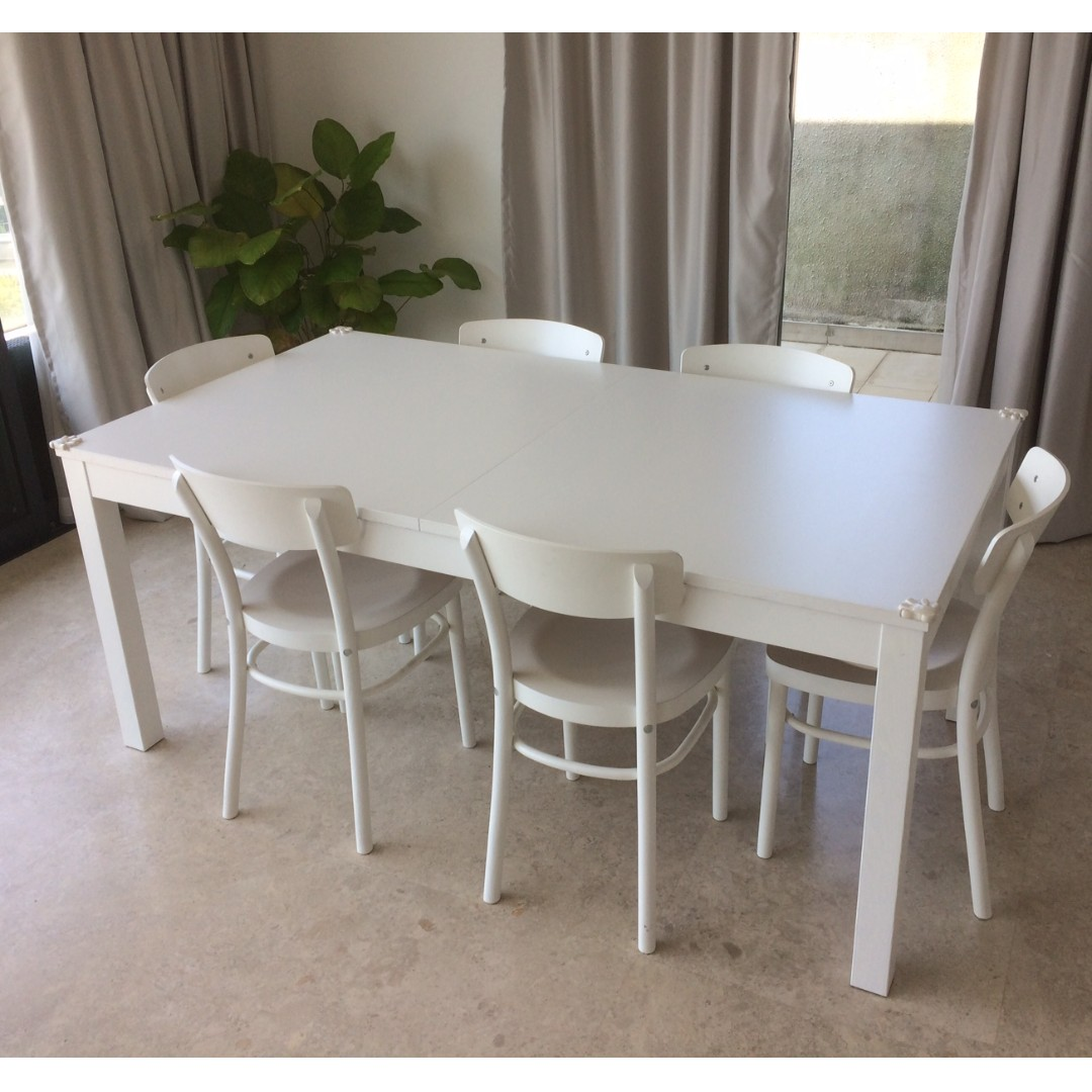 Astounding Ikea Bjursta Extendable Table 6 Idolf Chairs White 300 Alphanode Cool Chair Designs And Ideas Alphanodeonline