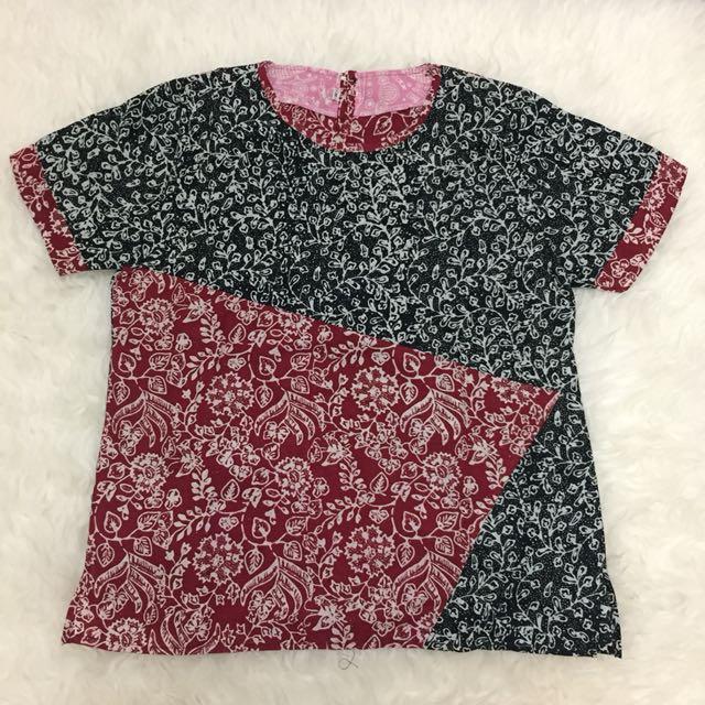 Black & Red Batik Top