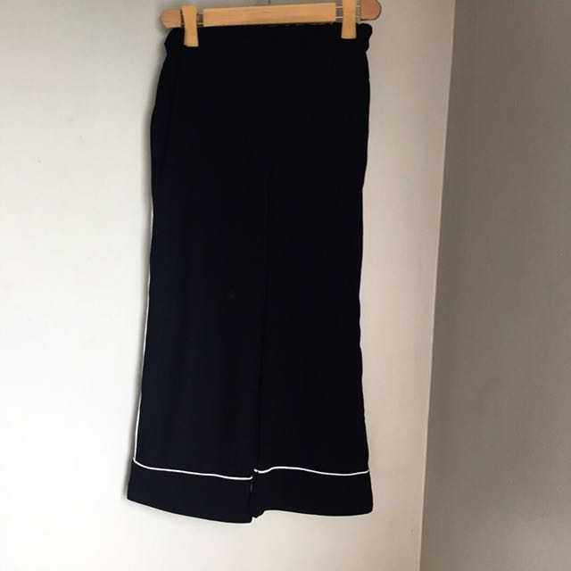 black culottes with side stripe