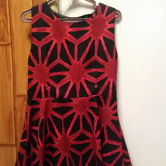 Black with red print detail skater dress