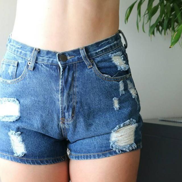 Blue denim ripped shorts