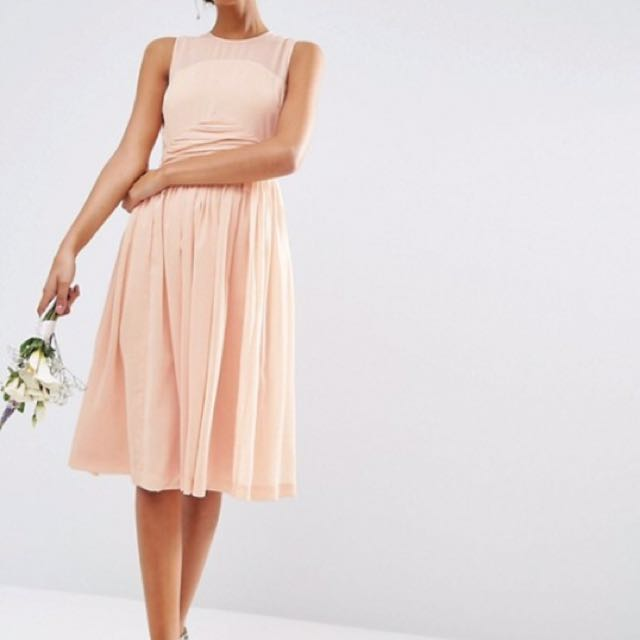 Brand new ASOS wedding midi dress with rouche panel detail blush color sleeveless