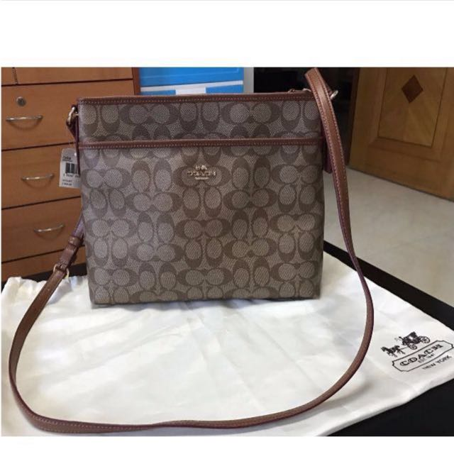 Brand New Authentic  Coach Signature File Crossbody Sling Bag