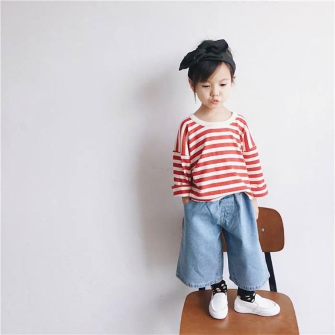 日系女童復古CHIC丹寧寬褲(140)