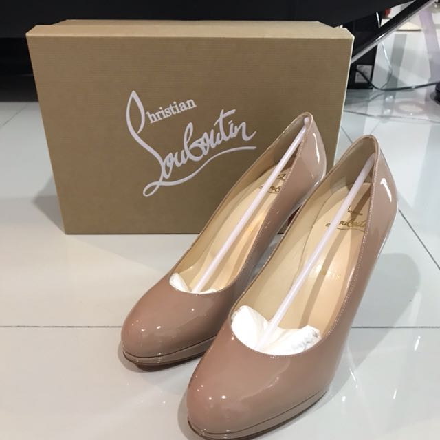 info for 23a5c c0b86 Christian Louboutin simple pump 100 patent calf nude 6248