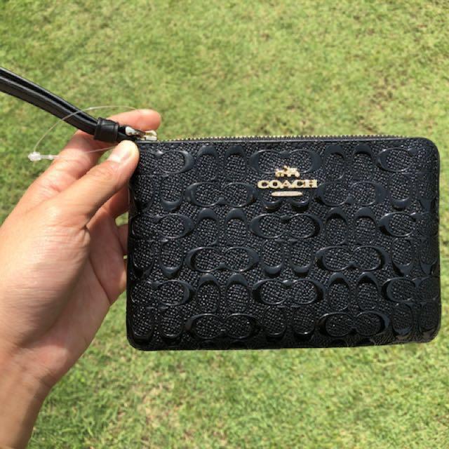 9a1524504ba0 COACH Signature Debossed Patent Leather Corner Zip Wristlet - Black ...