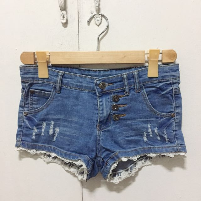 Denim Lace Shorts