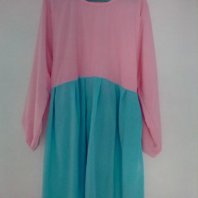 Dress wanita tosca dan pink