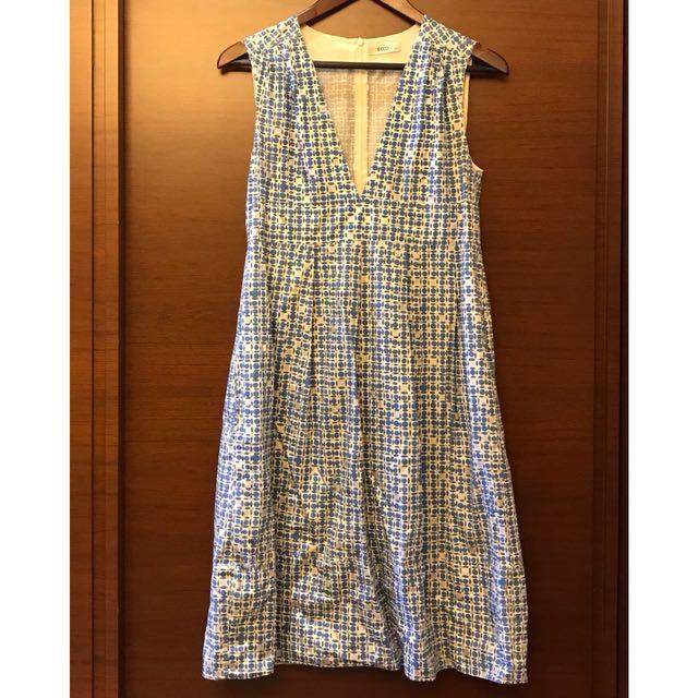 Ecco藍白v領無袖洋裝