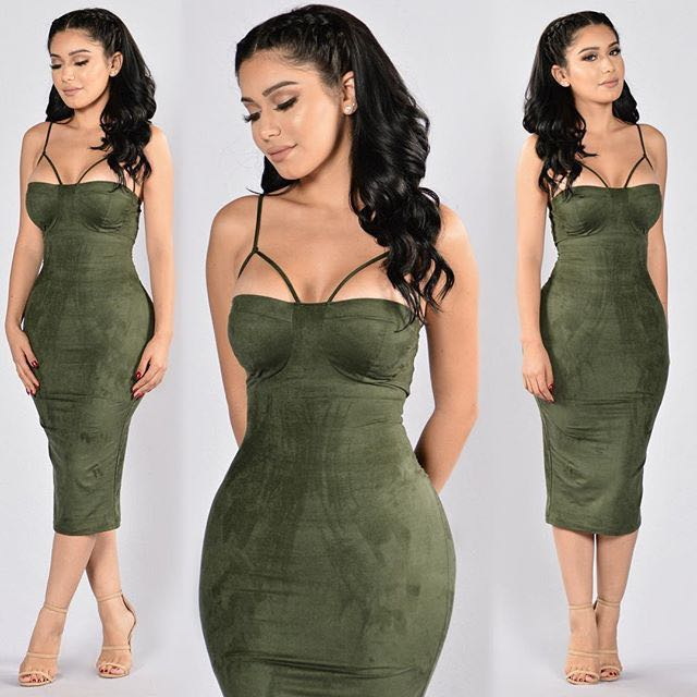 Fashion Nova Rich Like Suede Dress (Olive)