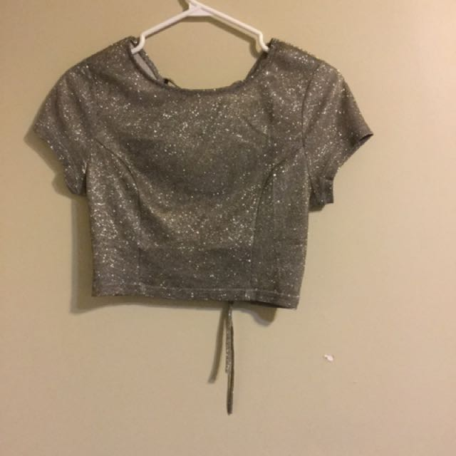 Fashion nova sparkling crop top brand new never worn fits size small and size medium