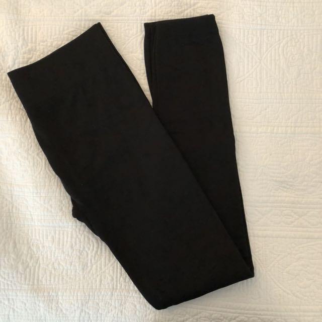 Fleece black tights
