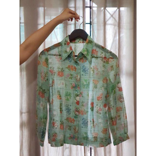 Floral mint blouse