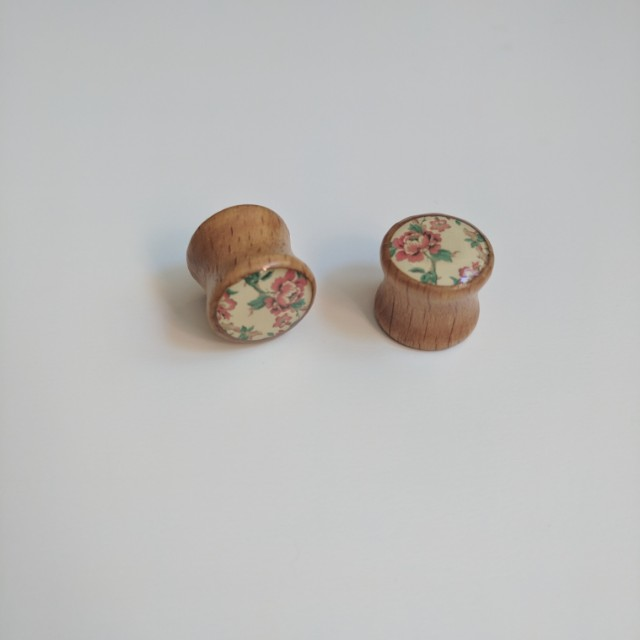 Floral Flower Wooden Double Flared Ear Plugs 12mm