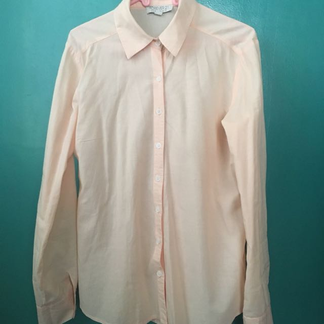 Forever21 Button-Down/Longsleeves Light Orange Blouse