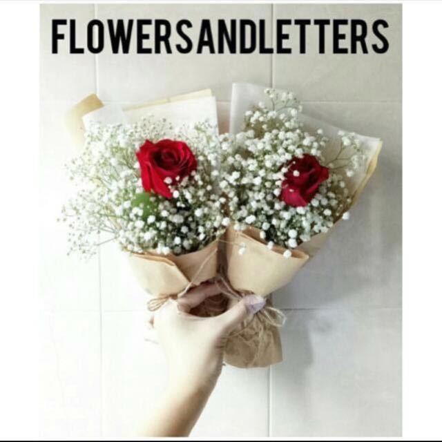 Fresh Flower Bouquet single red rose and white baby\'s breath bouquet ...