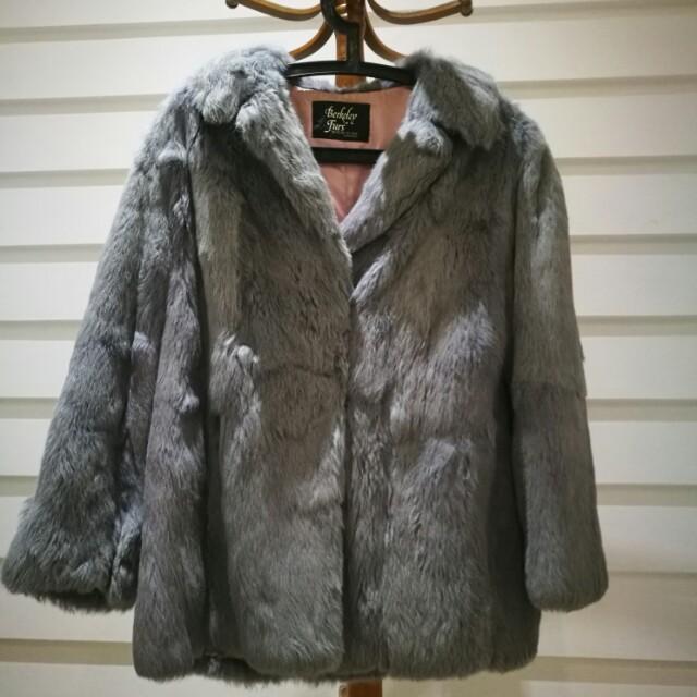 Genuine Fur Smokey Grey Purple Tinge Coat