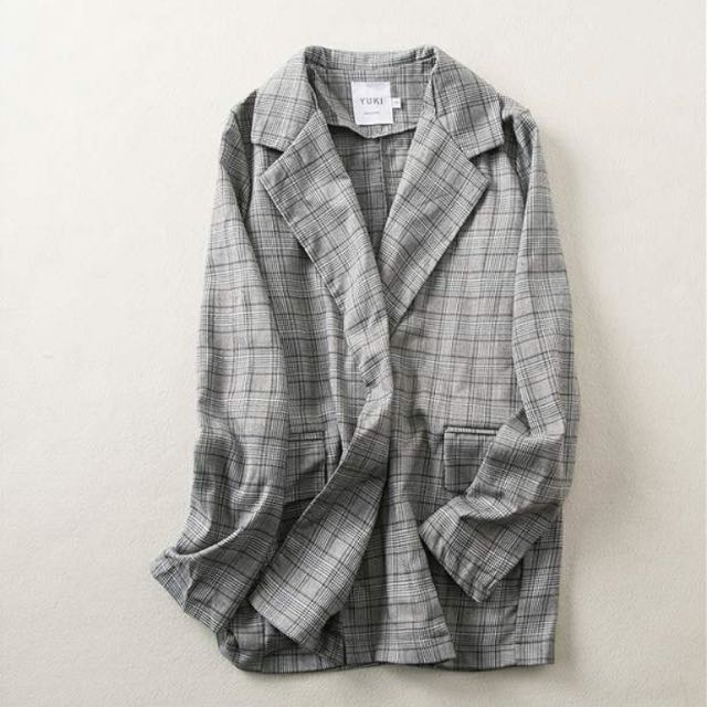 Grey Checked Plaid Jacket