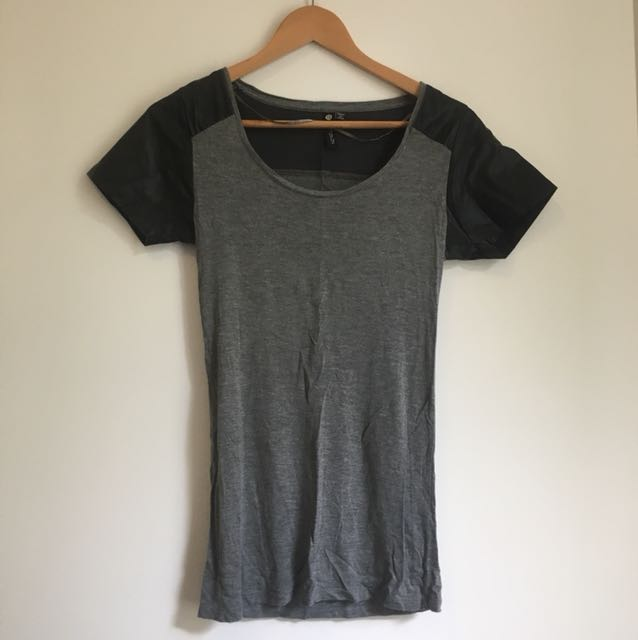 Grey with black leather sleeves t-shirt