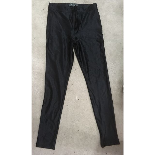 High waist black metallic pants