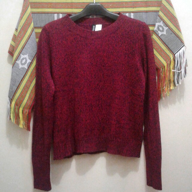 H&M Marble Maroon Sweater