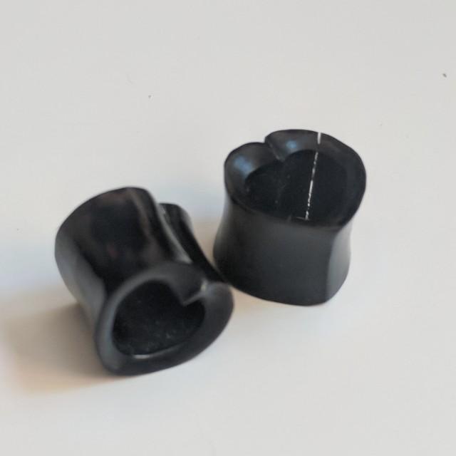Hollow Heart Shape Ebony Wooden Ear Plugs 12mm