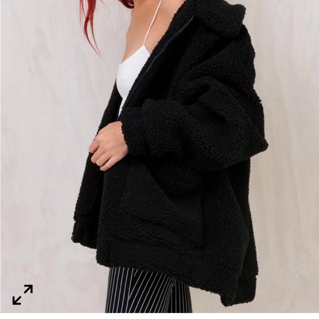 I Am Gia. Black pixie coat size M (8-10)