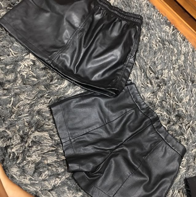 Leatherette skirt and shorts (selling together)