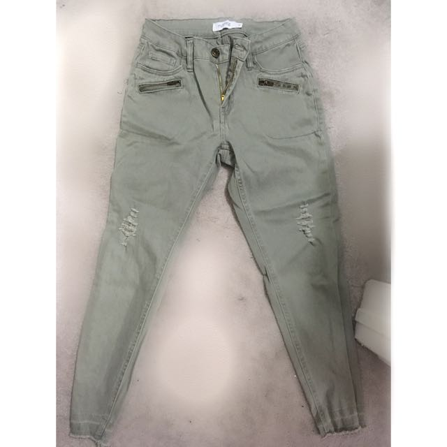 Light green distressed pants