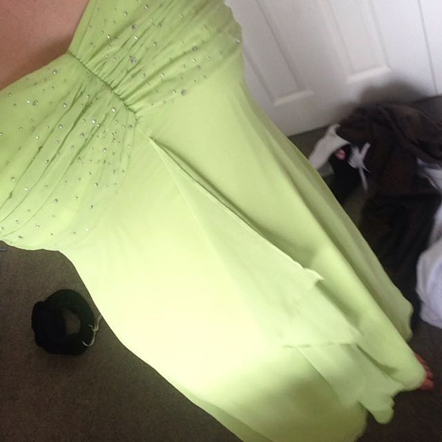 Lime Green Long Kids Dress