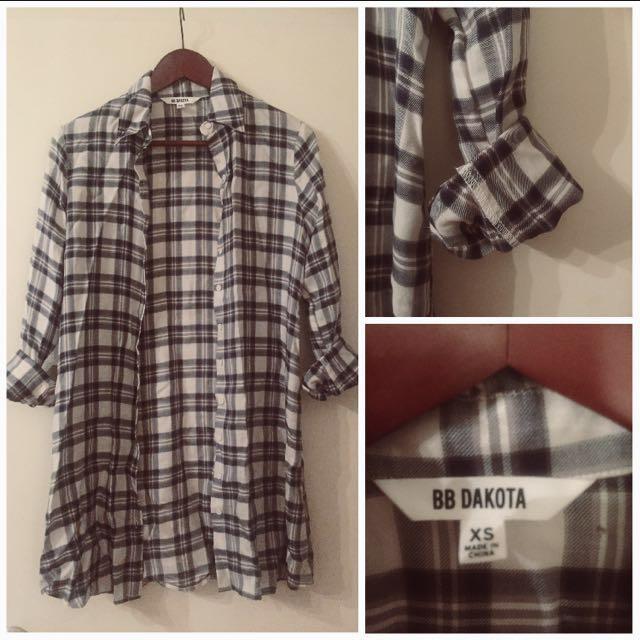 Longline plaid Button up blouse