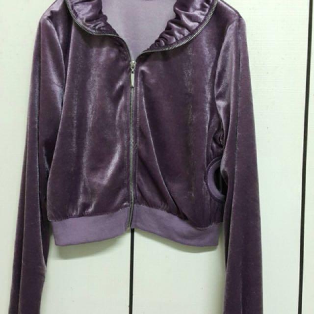 M 紫色絨布外套