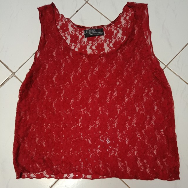 Maroon Red Lace Top