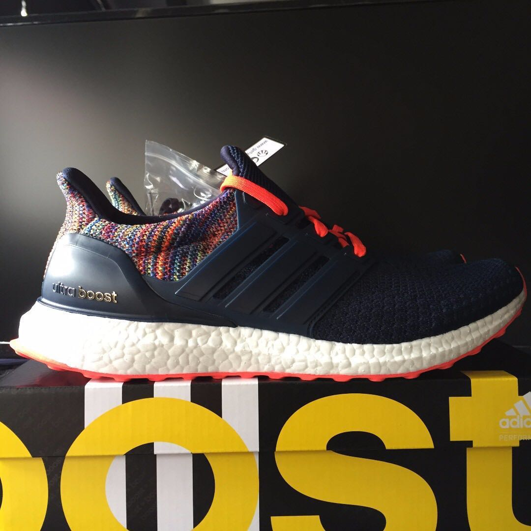e22eb3bc9 miAdidas Ultra Boost 2.0 ( Navy   Solar Red   Multicolor ) US9 ...