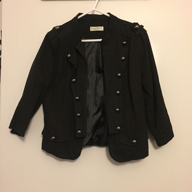 Military style black jacket