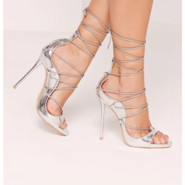 MISSGUIDED Reptile Lace Up Sandals Heels Silver UK3