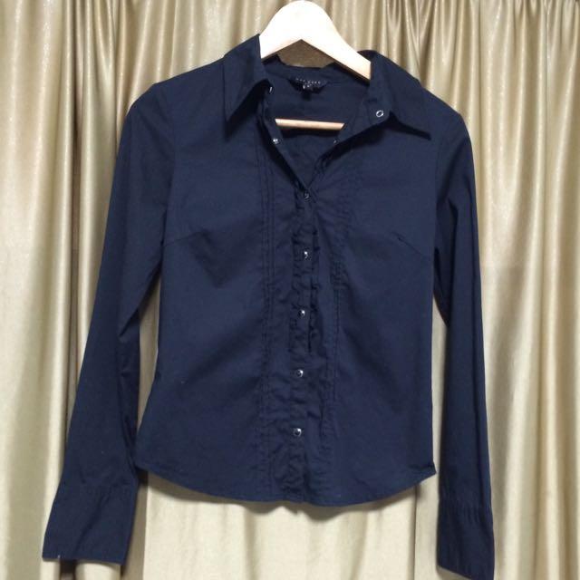 Net純黑色簡約防皺襯衫