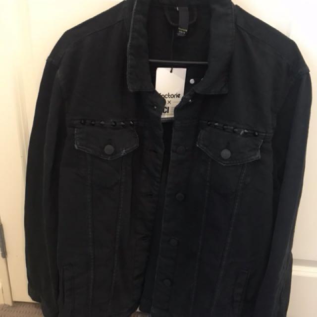 Oversized boyfriend denim jacket