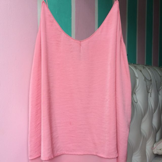 Pink flare tank-top