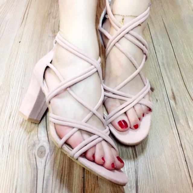Pink Strappy Chunky Heel Sandals size 37