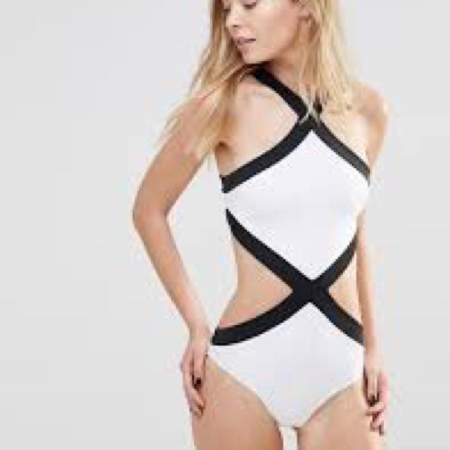 PL Goddiva contrast cut out swimsuit from Asos