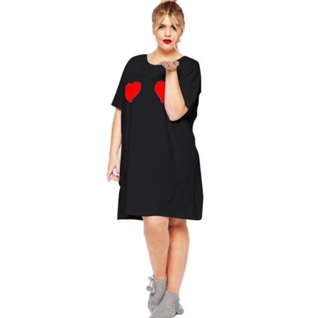Plus size heart t-shirt/dress