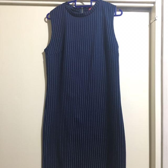 Redhead navy blue striped dress