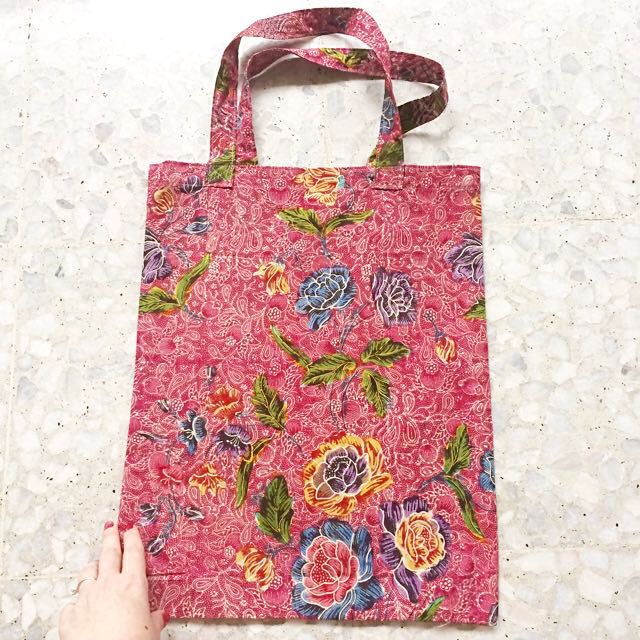 2c4eb33f666f6f Reserved) Batik Shopping Bag Handmade in Singapore - Pink, Women's ...
