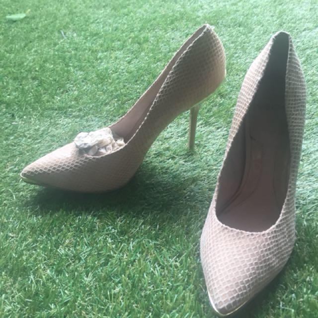 Sachi snakeskin cream heels